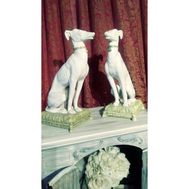 White Vintage Italian Whippets Statues - a Pair For Sale - Image 8 of 11