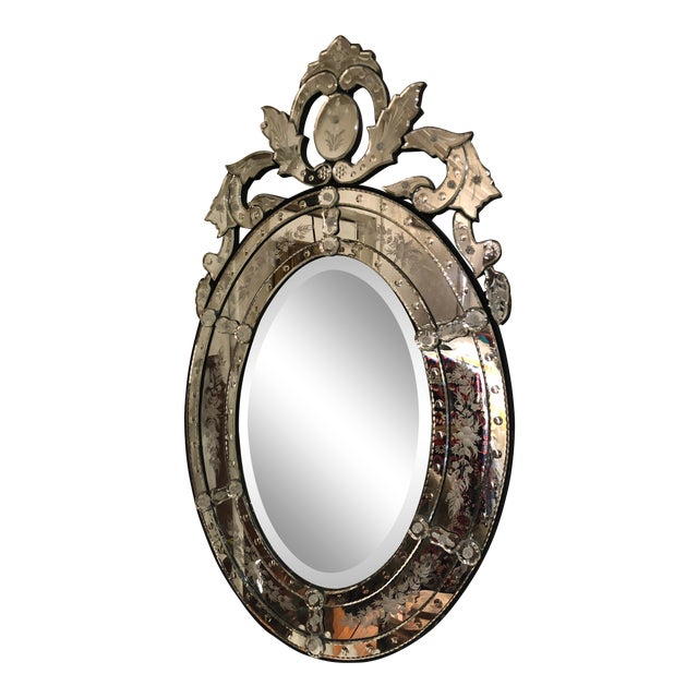 Venetian Style Etched Oval Mirror For Sale