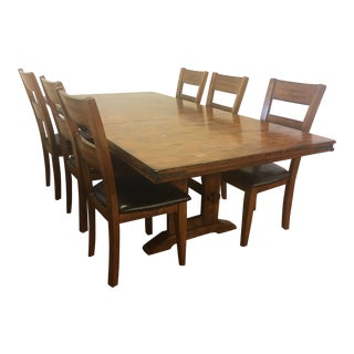 Transitional Expending Dining Table With Chairs Set