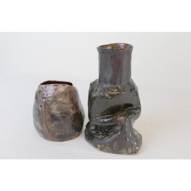 Artisan Studio Pottery Vases- a Pair For Sale - Image 4 of 9