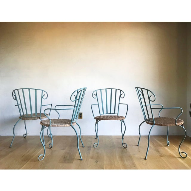 Vintage Verdigris Iron and Woven Rattan Dining or Patio Chairs-Set of Four For Sale - Image 9 of 13