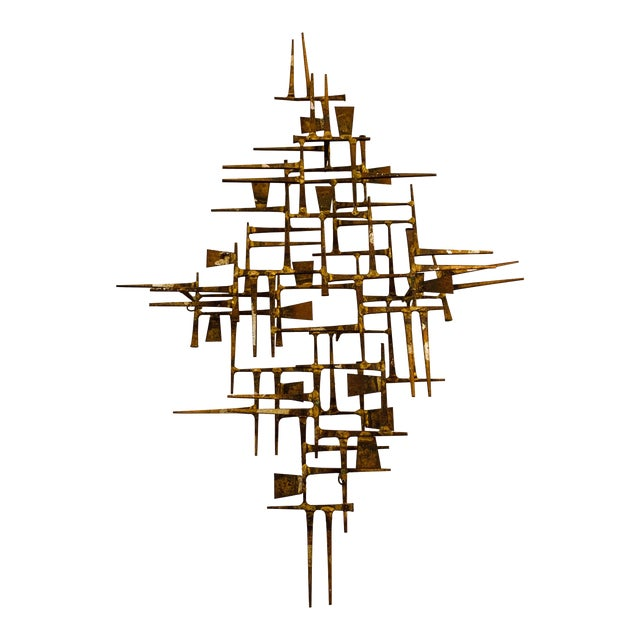 Abstract Mid Century Modern Brass Wall Sculpture For Sale