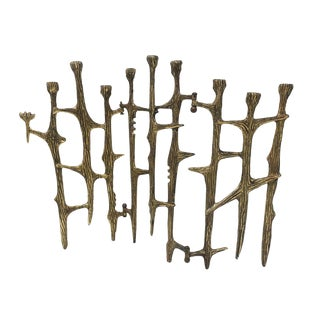Brutalist Brass Candleholder For Sale