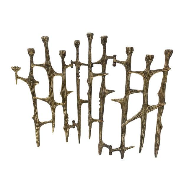 Brutalist Brass Candleholder For Sale