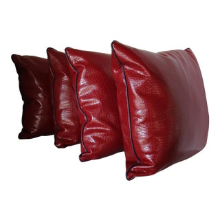 Robert Allen Duralee Group Red Faux Alligator Leather Pillows With Contrast Welting - Set of 4 For Sale
