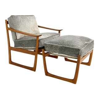 Peter Hvidt and Orla Mølgaard-Nielsen Fd-130 Teak Lounge Chair and Ottoman in Brazilian Cowhide For Sale
