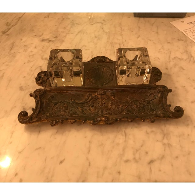Metal Antique Gold Gilt, Cast Iron Double Inkwell, With Pen Tray For Sale - Image 7 of 7
