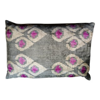 Turkish Silk Velvet Ikat Lumbar Pillow For Sale