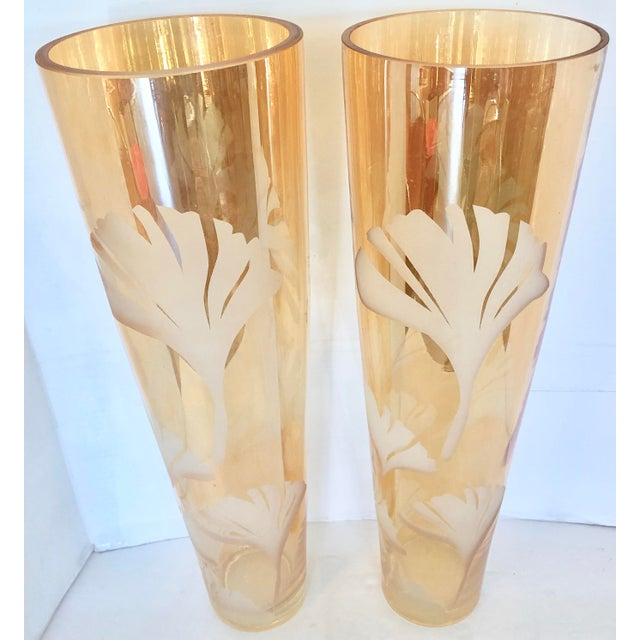 Vintage Xl Tall Etched Vases Chairish