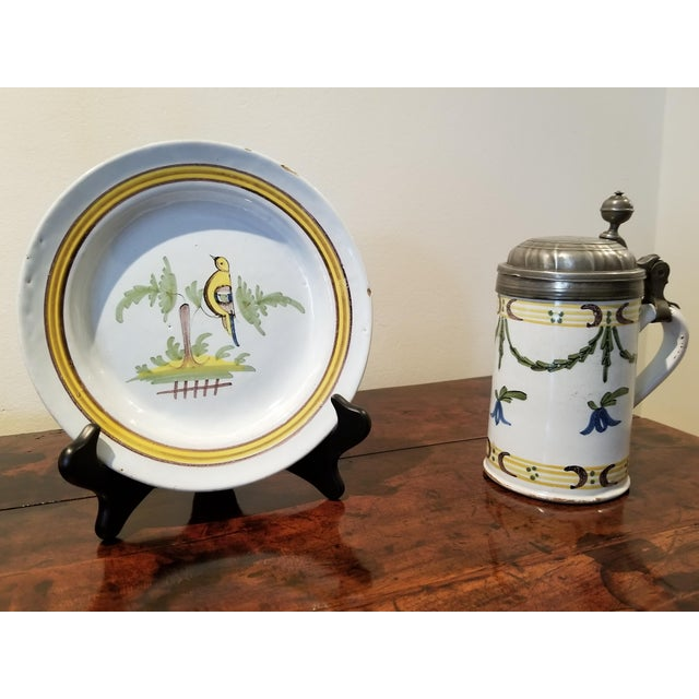 Circa 1741 Rouen French Faience Plate and Beer Stein For Sale - Image 11 of 11