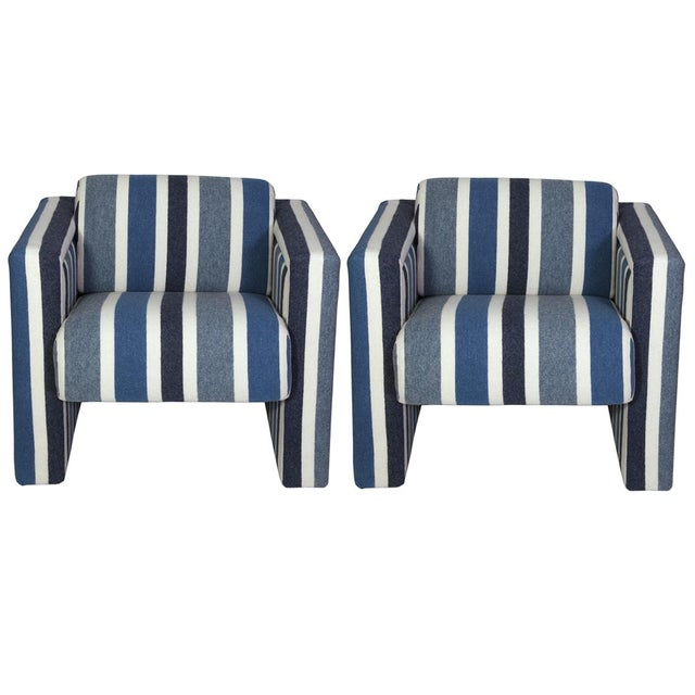 Nautical Club Chairs in Blue and White Wool - A Pair For Sale