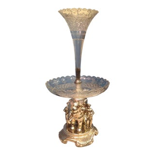 Superb 19th Century Anglo-Indian Style Elephant Motif Centerpiece / Epergne For Sale