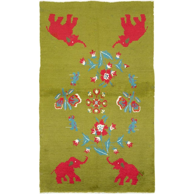 """Mid 20th Century Vintage Swedish Pictorial Rug - Size: 3' 11"""" X 6' 4"""" For Sale - Image 5 of 5"""