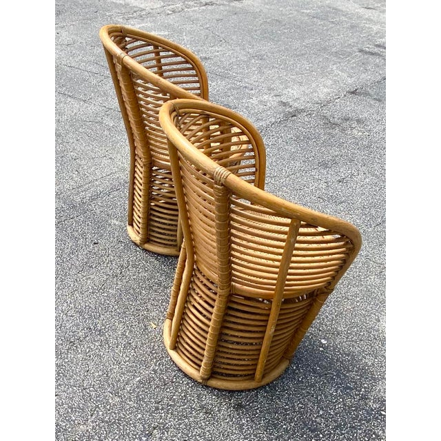 Contemporary Vintage Coastal Rattan Side Chairs - a Pair For Sale - Image 3 of 7