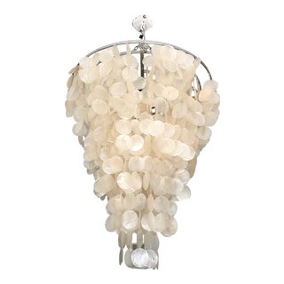 1980s Large Capiz Shell Chandelier For Sale