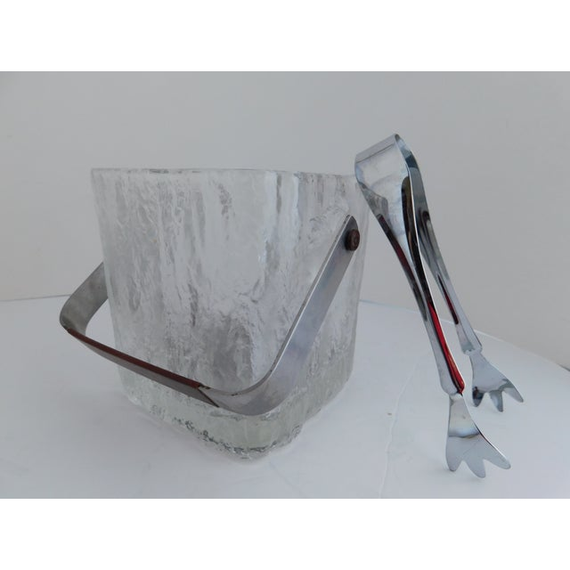 Mid Century Textured Hoya Glass Ice Bucket and Tongs For Sale - Image 13 of 13