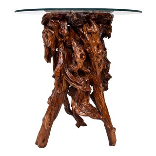 Azalea Root and Glass Top Pedestal Table For Sale