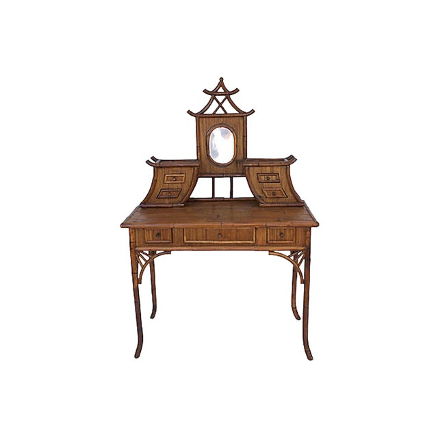 Chinoiserie Rattan Vanity For Sale
