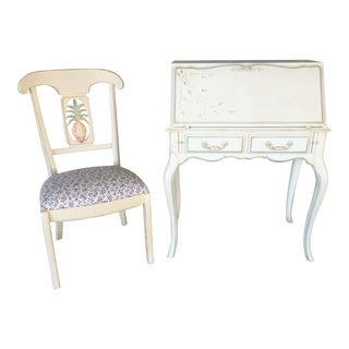 Ethan Allen French Country Writing Desk & Chair - A Pair
