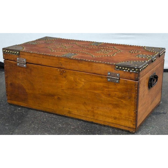 Metal 19th Century Tack Decorated Trunk For Sale - Image 7 of 8