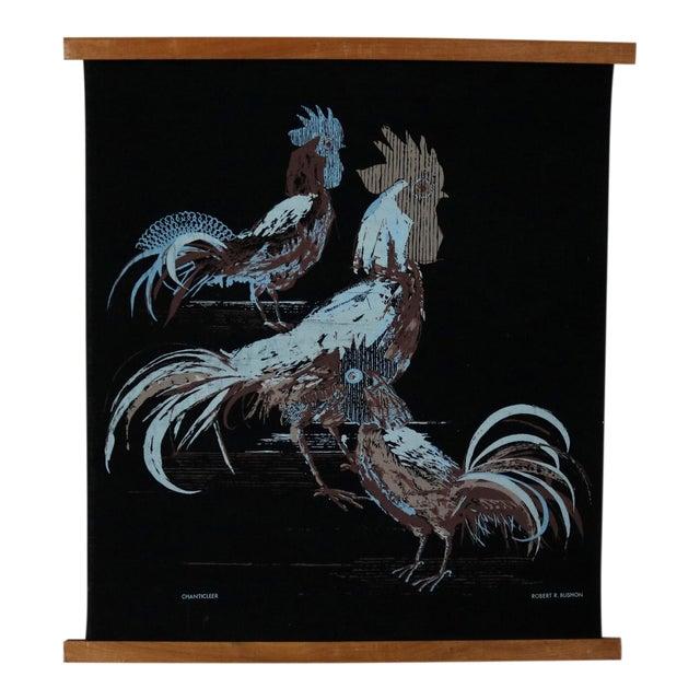 Robert Bushong Silkscreen Wall Scroll Chanticleer for Tom Tru Raymor Mid Century Modern For Sale