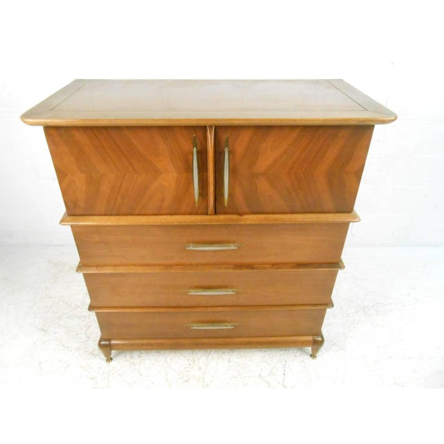 "Mid-Century Modern Kent Coffey Mid-Century Modern ""The Appointment"" Highboy Dresser For Sale - Image 3 of 8"