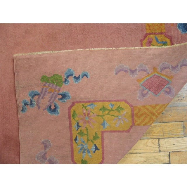 """1920s Antique Chinese Art Deco Rug 6'8"""" X 9'0"""" For Sale - Image 5 of 8"""