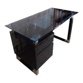 Black Lacquered Desk With Blue Glass Top For Sale