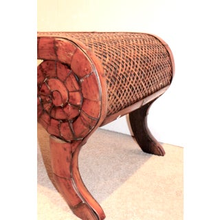 Vintage French Regency Scroll Bamboo Rattan Coffee Table Preview