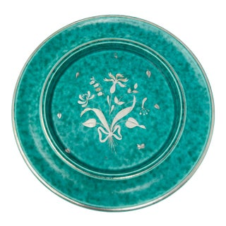 1930s Gustavsberg Argenta Silver Inlay Bouquet Pottery Plate For Sale