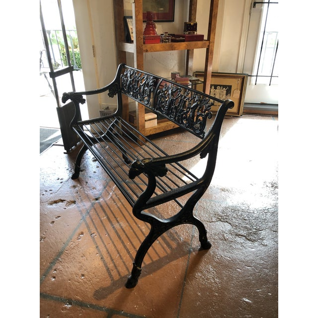Neoclassical Iron Bench by German Architect Fred Shingle For Sale - Image 12 of 13