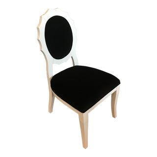 Modern Black Velvet & White Lacquer Side Chair For Sale