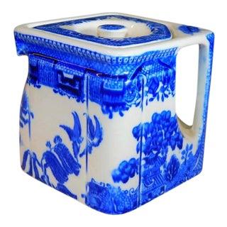 Vintage Grimwades the Cube Art Deco Blue Willow Teapot For Sale
