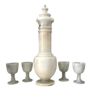 Vintage Mid Century Decorative Alabaster Decanter Set - 5 Pieces For Sale