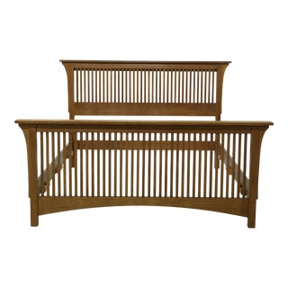 Stickley Queen Size Spindled Mission Oak Bed For Sale
