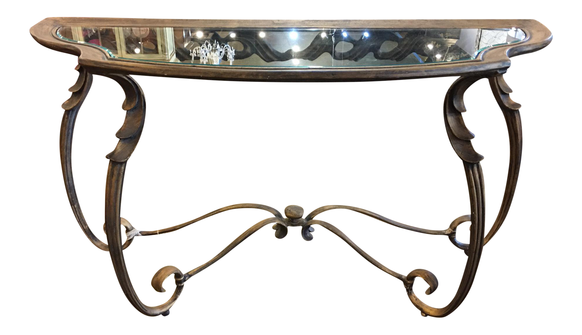 vintage console table. Burnished Gold Vintage Console Table