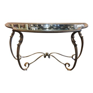 Burnished Gold Vintage Console Table For Sale