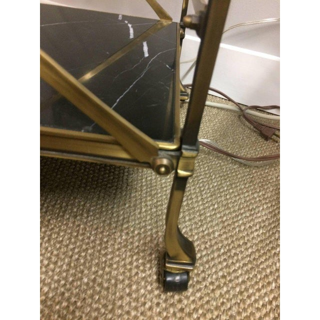 Mid Century Modern Brass & Marble Bar Cart - Image 6 of 9