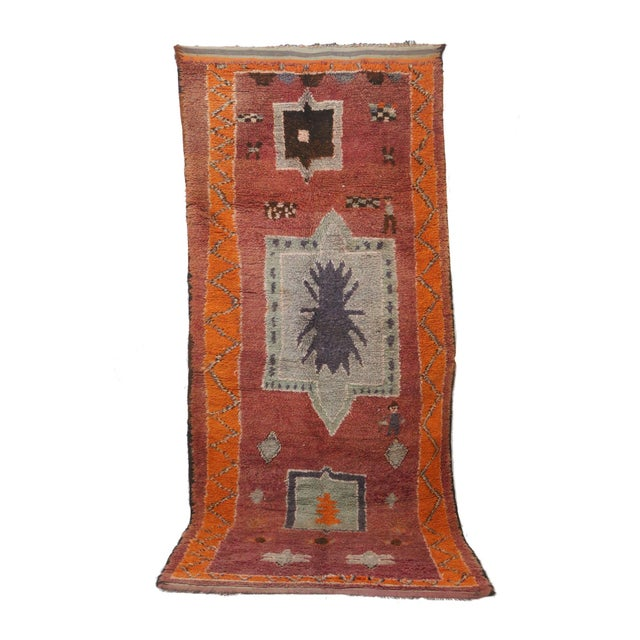 "1970s 1970s Moroccan Boujad, 5'10"" X 13'3"" For Sale - Image 5 of 5"