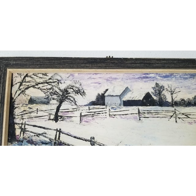 Wood 1970 Vintage Snowscaped Oil Painting , Signed . For Sale - Image 7 of 12