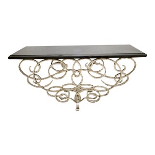 Modern Black Granite & Silvered Iron Console Table For Sale