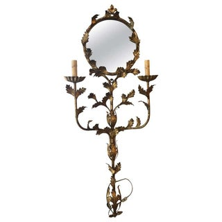 Italian Floral Gilt Iron Mirrored Wall Sconce For Sale