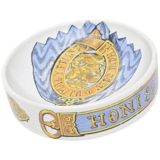 Fornasetti Hallmarked Gilded Porcelain Buckle Bowl or Dish For Sale