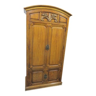 Thomasville French Style Walnut & Burl Carved Armoire For Sale