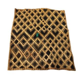 "Kuba Kasai Raffia Textile W/ Turquoise Bead 21"" by 23.5"" For Sale"