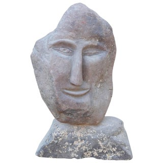 Vintage Carved Stone Sculpture by Ted Ludwiczak, Hudson Valley Blue Stone on Stone Base For Sale