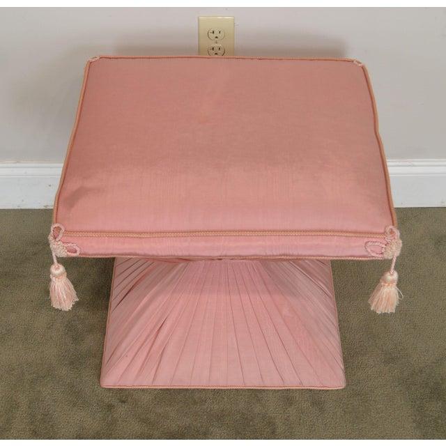 Pink Hollywood Regency Pair Vintage Pink Upholstered Stools For Sale - Image 8 of 12