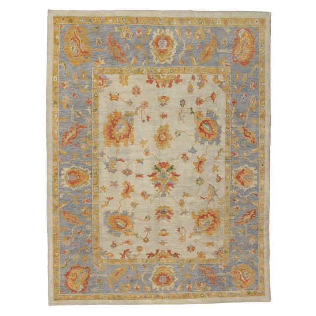 Contemporary Turkish Pastel Oushak Rug - 9′3″ × 12′3″ For Sale In Dallas - Image 6 of 7