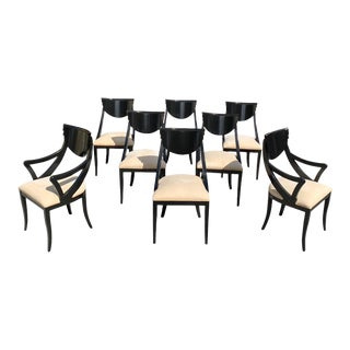 "1940s Vintage French Art Deco ""Gondola"" Dining Chairs - Set of 8 For Sale"