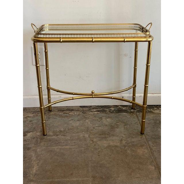 Vintage Brass Mirror Framed Glass Side Table For Sale - Image 10 of 10